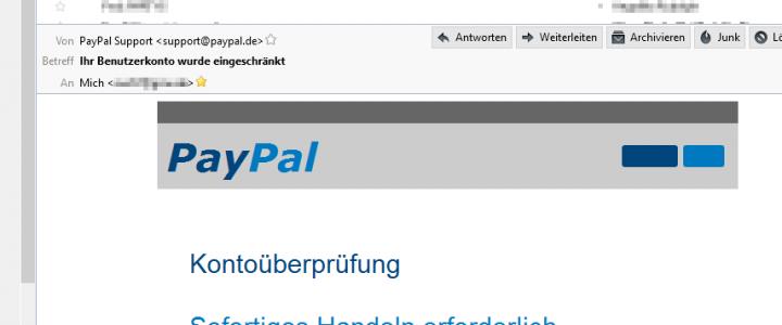 PayPal Fake Mail (und andere) in Thunderbird erkennen!